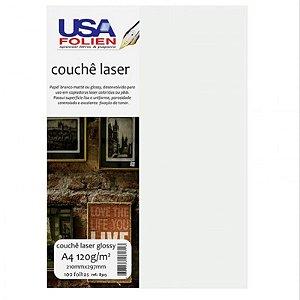 Papel Couchê Laser Glossy A4 c/ 100 Folhas 120g - unitário - USA Folien