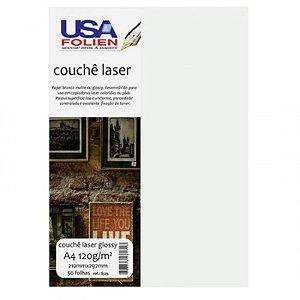 Papel Couchê Laser Glossy A4 c/ 50 Folhas 120g - unitário - USA Folien