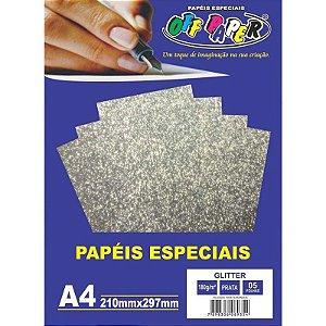 Papel Glitter A4 5 Folhas 180g Prata - unitário - Off Paper