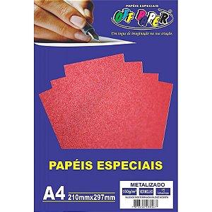 Papel Glitter A4 5 Folhas 180g Vermelho - unitário - Off Paper