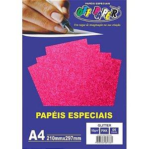 Papel Glitter A4 5 Folhas 180g Pink - unitário - Off Paper