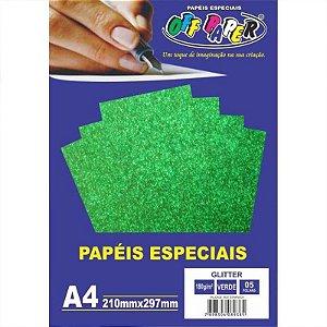 Papel Glitter A4 5 Folhas 180g Verde - unitário - Off Paper