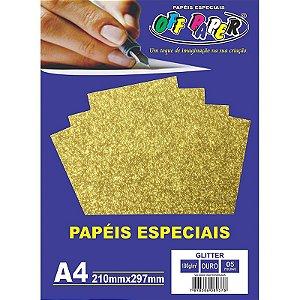 Papel Glitter A4 5 Folhas 180g Ouro - unitário - Off Paper