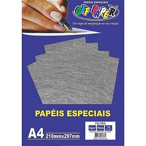 Papel Feltro A4 10 Folhas 30g Prata - unitário - Off Paper