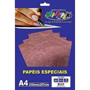 Papel Feltro A4 10 Folhas 30g Vermelho - unitário - Off Paper