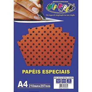 Papel Bolinha Metalizada A4 10 Folhas 120g Marrom - unitário - Off Paper