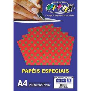 Papel Bolinha Metalizada A4 10 Folhas 120g Vermelho - unitário - Off Paper