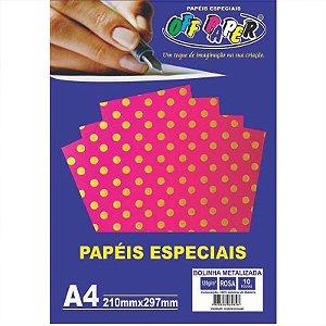 Papel Bolinha Metalizada A4 10 Folhas 120g Rosa - unitário - Off Paper