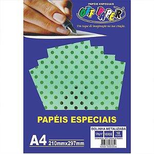 Papel Bolinha Metalizada A4 10 Folhas 120g Verde - unitário - Off Paper