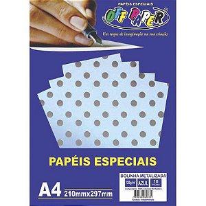 Papel Bolinha Metalizada A4 10 Folhas 120g Azul - unitário - Off Paper