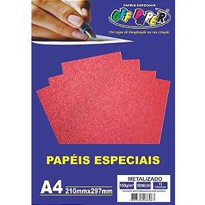 Papel Metalizado A4 15 Folhas 150g Vermelho - unitário - Off Paper