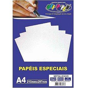 Papel Metalizado A4 15 Folhas 150g Branco - unitário - Off Paper