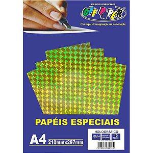 Papel Holográfico A4 10 Folhas 120g Dourado c/ Quadrado - unitário - Off Paper
