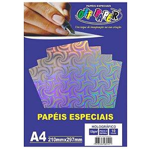 Papel Holográfico A4 10 Folhas 120g Prata c/ Espiral - unitário - Off Paper