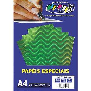 Papel Holográfico A4 10 Folhas 120g Verde c/ Onda - unitário - Off Paper