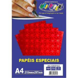 Papel Holográfico A4 10 Folhas 120g Vermelho c/ Coração - unitário - Off Paper