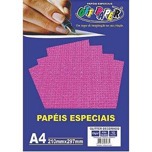 Papel Glitter Decorado A4 10 Folhas 150g Rosa Colmeia  - unitário - Off Paper