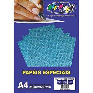 Papel Glitter Decorado A4 10 Folhas 150g Azul Colmeia  - unitário - Off Paper