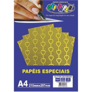 Papel Glitter Decorado A4 10 Folhas 150g Ouro c/ Coração  - unitário - Off Paper