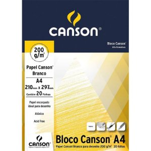 Papel Branco p/ Desenho A4 20 Folhas 200g - unitário - Canson