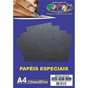 Papel Metalizado A4 15 Folhas 150g Preto- unitário - Off Paper