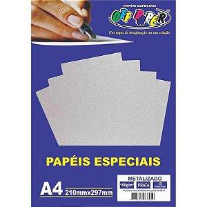 Papel Metalizado A4 15 Folhas 150g Prata- unitário - Off Paper