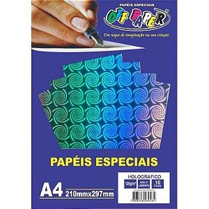 Papel Holográfico A4 10 Folhas 120g Azul c/ Labirinto - unitário - Off Paper