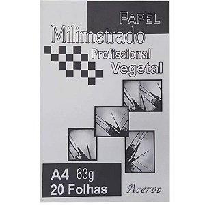 Papel Milimetrado Profissional Vegeta A4 c/ 20 Folhas 63g - unitário - Acervo