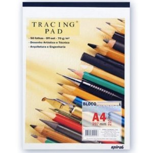 Bloco Layout Liso Tracing Pad A4 c/ 50 Folhas 70g - unitário - Spiral