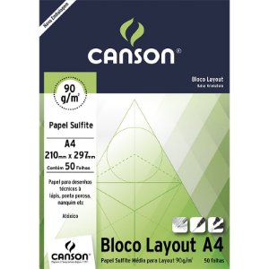 Bloco Layout A4 c/ 50 Folhas 90g - unitário - Canson