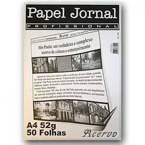 Papel Jornal Profissional A4 c/ 50 Folhas 52g - unitário - Acervo