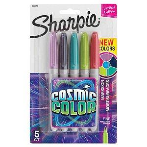 """Kit c/ 5 Marcadores Permanentes """"Cósmic Color"""" de Ponta Fina - unitário - Sharpie"""