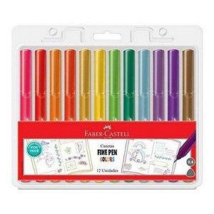 Caneta Fine Pen Colors 0,4 mm - com 12 cores - Faber-Castell