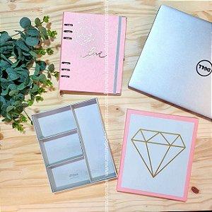 Planner Pink Stone A5 Premium Gift Box - unitário - Ótima Gráfica