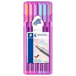 Canetas Fineliner Triplus Pastel - com 6 unidades - Staedtler