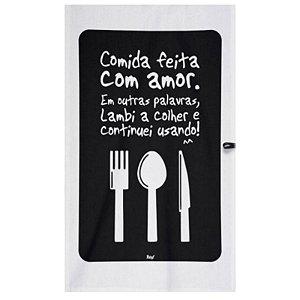 """Pano de Prato """"Cozinho com Amor"""" - unitário - Yaay!"""