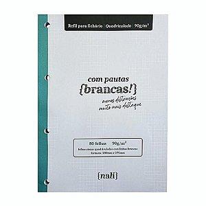 Refil p/ Fichário c/ 80 Folhas A4 Cinzas e Quadriculadas - unitário - Nalí