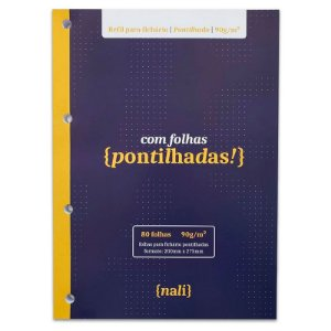 Refil p/ Fichário c/ 80 Folhas A4 Brancas e Pontilhadas - unitário - Nalí