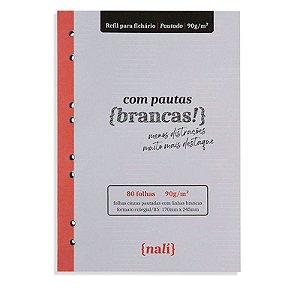 Refil p/ Fichário 80 Folhas B5 Cinzas e Pautadas - unitário - Nalí