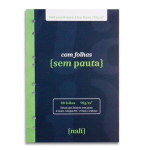 Refil p/ Fichário c/ 80 Folhas B5 Branca s/ Pauta - unitário - Nalí