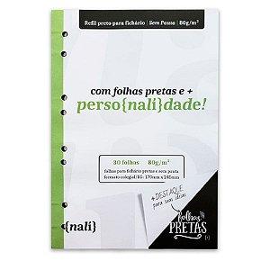 Refil p/ Fichário c/ 30 Folhas B5 Pretas s/ Pauta - unitário - Nalí
