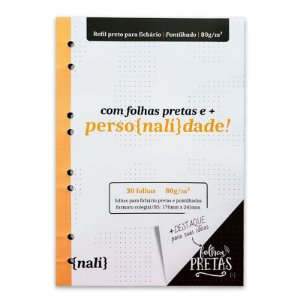Refil p/ Fichário c/ 30 Folhas B5 Pretas e Pontilhadas - unitário - Nalí