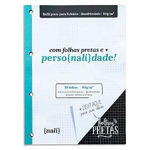 Refil p/ Fichário c/ 30 Folhas A4 Pretas e Quadriculadas - unitário - Nalí