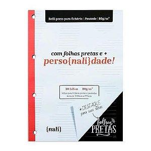 Refil p/ Fichário c/ 30 Folhas A4 Pretas e Pautadas - unitário - Nalí