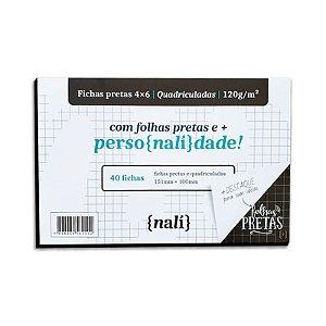 Fichas Pretas 40 Folhas 4x6 Quadriculadas - unitário - Nalí