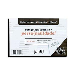 Fichas Pretas 40 Folhas 4x6 Pautadas - unitário - Nalí