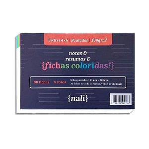 Fichas 4 Cores 80 Folhas 4x6 Pautadas - unitário - Nalí