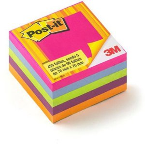 """Bloco Adesivo M """"Post-it"""" - 90 folhas - Contém 5 blocos - 3M"""