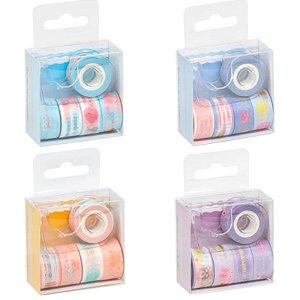 Kit de Fitas Washi Tape Mini + suporte - c/ 5 unidades - BRW