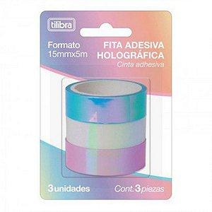 Fita Washi Tape Holográfica - c/ 3 unidades - Tilibra